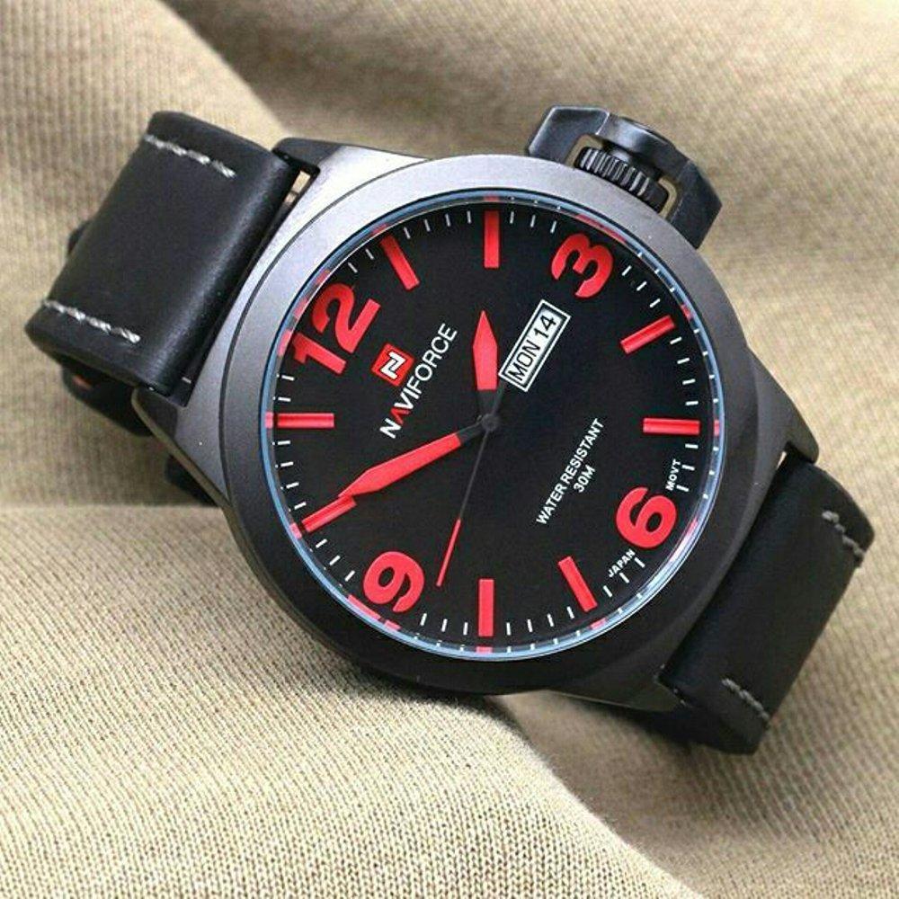 Jam Pria Original Naviforce N9060 Leather Balck - Red Stripe (Swiss Army Expedition Casio) Water Resist Proof Anti Air