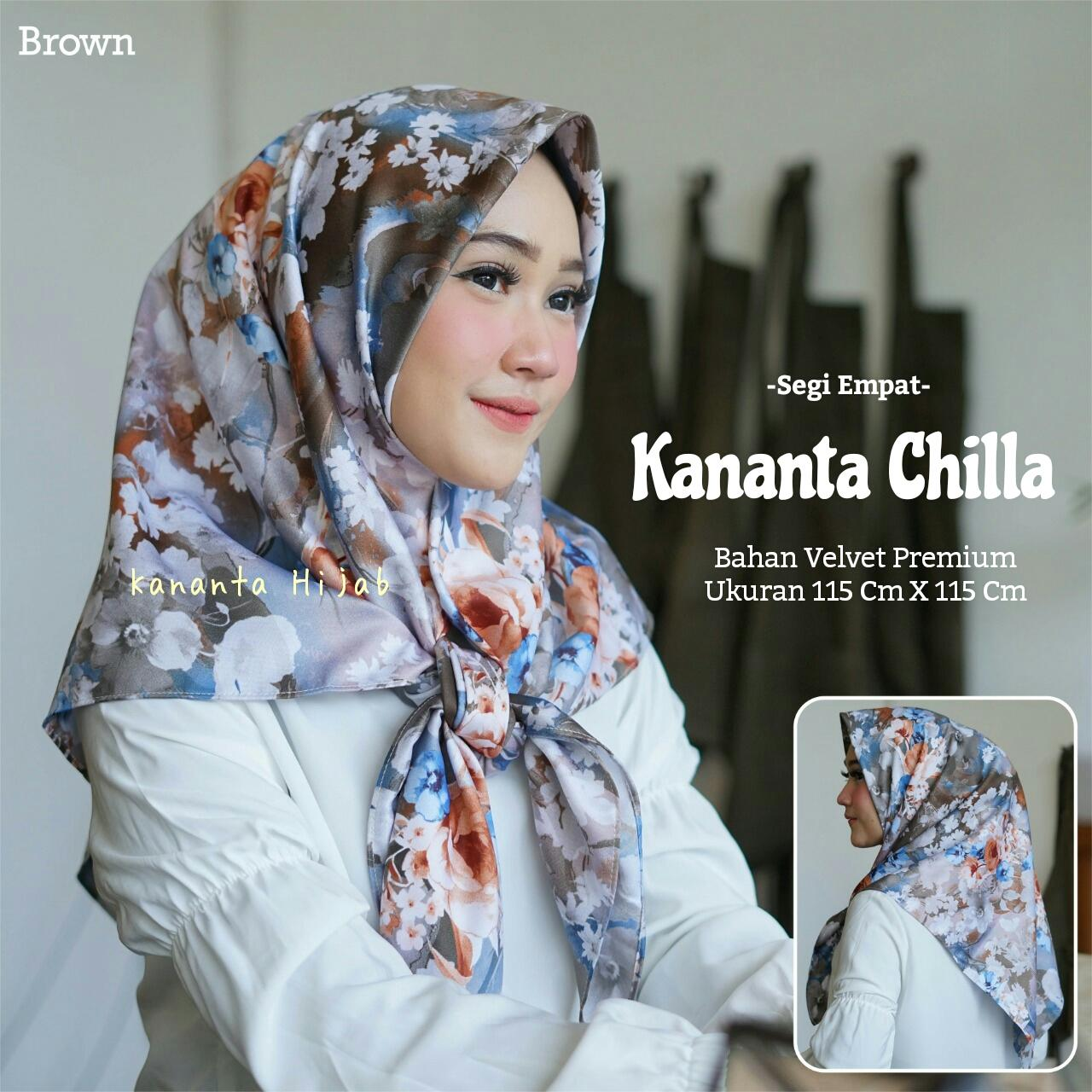 Kananta Hijab Segi Empat Motif Bunga Bahan Velvet Premium Kananta CHILLA