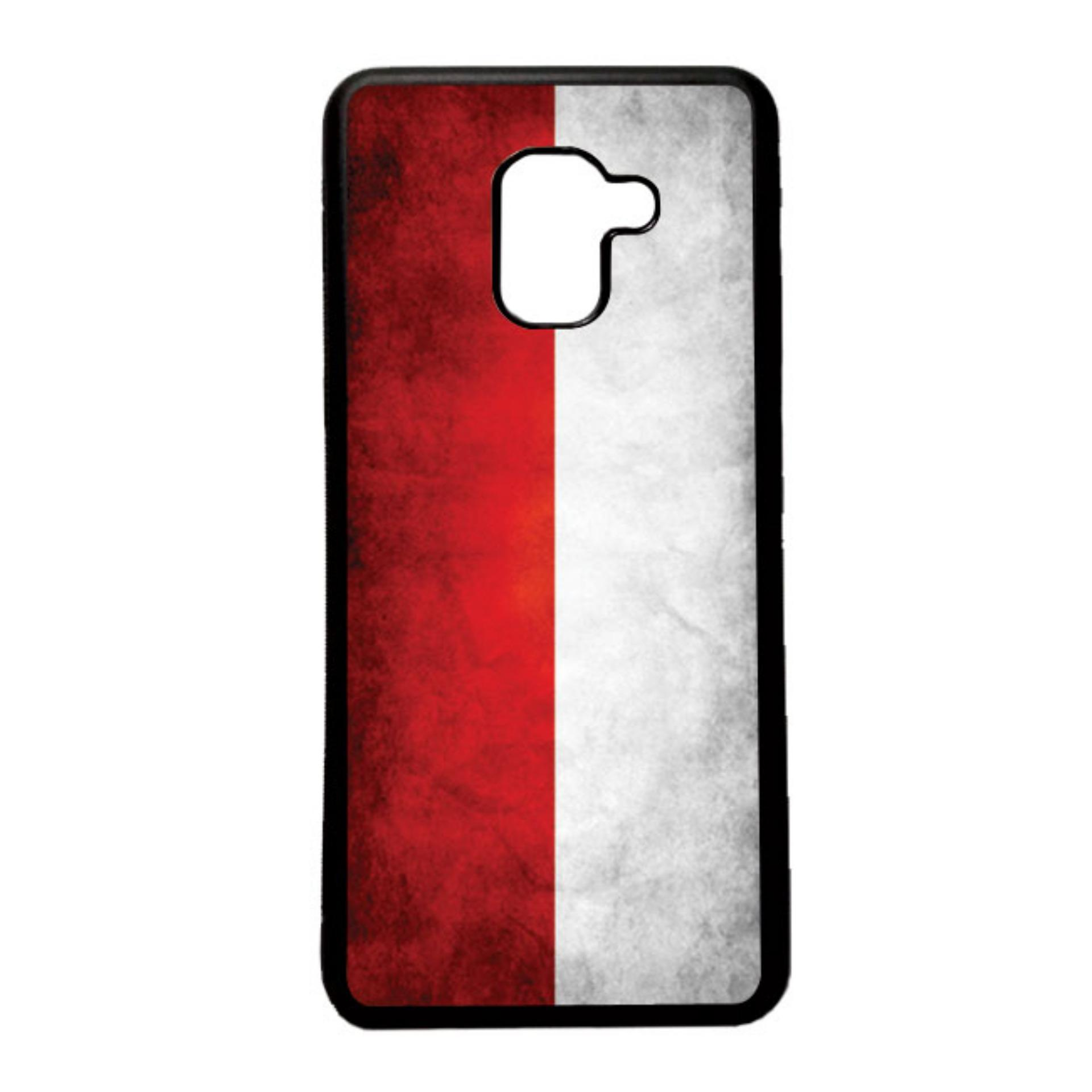 HEAVENCASE Case Casing Samsung Galaxy A8 2018 Case Softcase Hitam Motif Bendera Indonesia