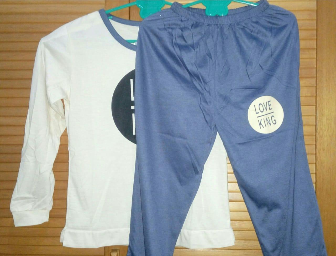 Buy Sell Cheapest King Fashion Piyama Best Quality Product Deals Gw Cowo Dino Cloth88 Baju Tidur Wanita Setelan Kaos Lengan Panjang Celana Motif Love
