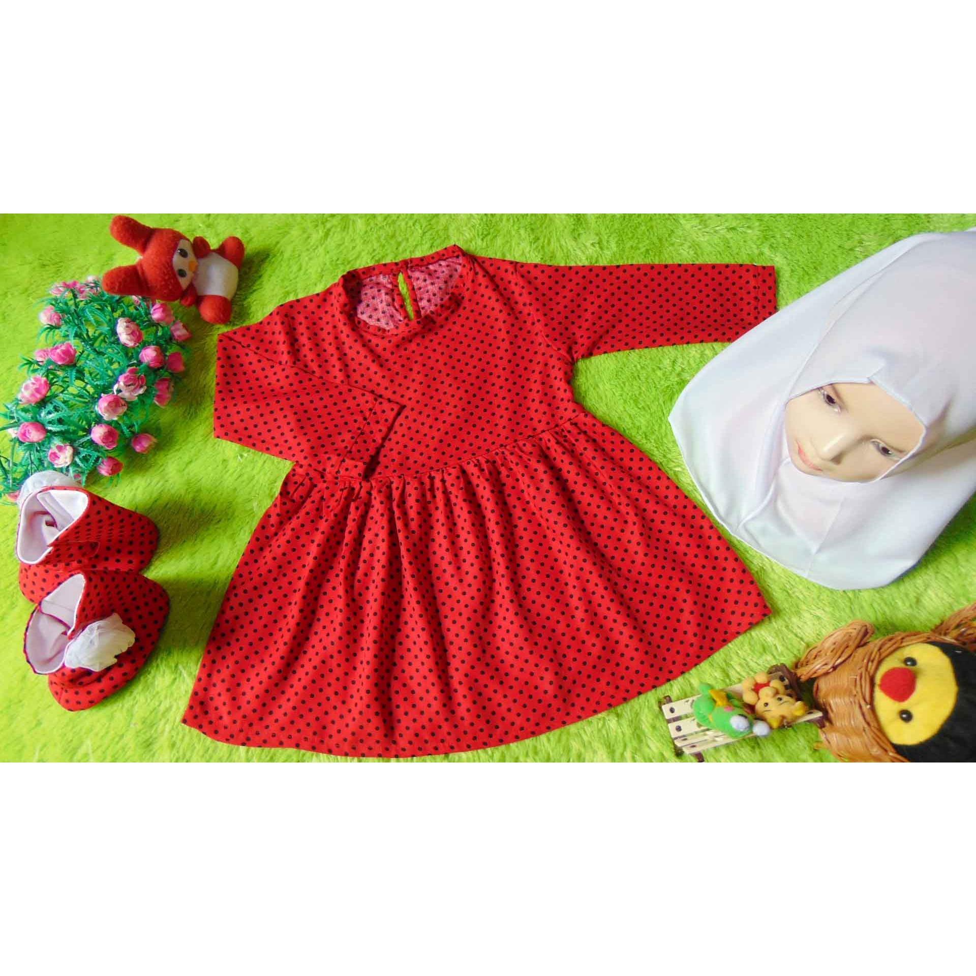EKSKLUSIF Paket Gamis Bayi plus Jilbab dan Sepatu Boots Bayi Polka Merah Hitam Cantik 0-12 bulan
