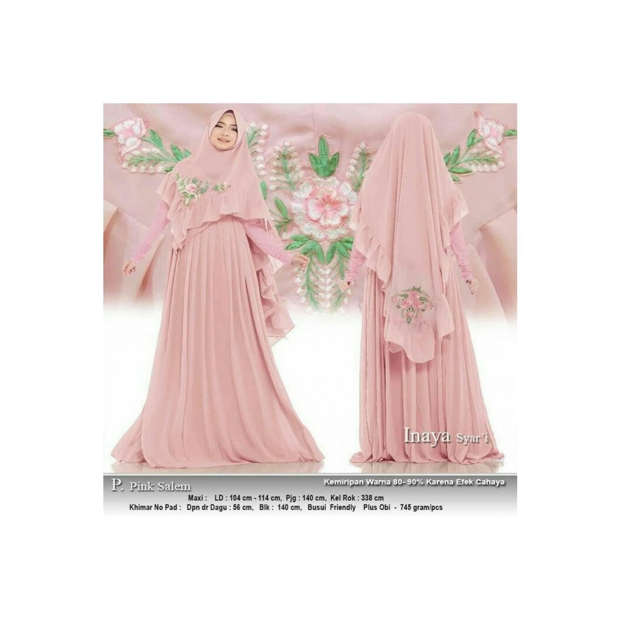 Baju Busana Muslim Gamis Maxy Wanita/Pakaian Maxy Bordir Inaya Pink