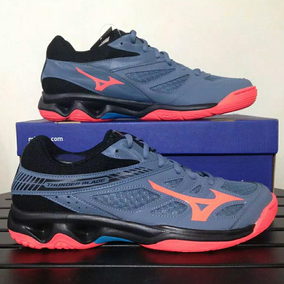 Sepatu Volley Mizuno Thunder Blade blue mirage V1GA177065 Original BNIB