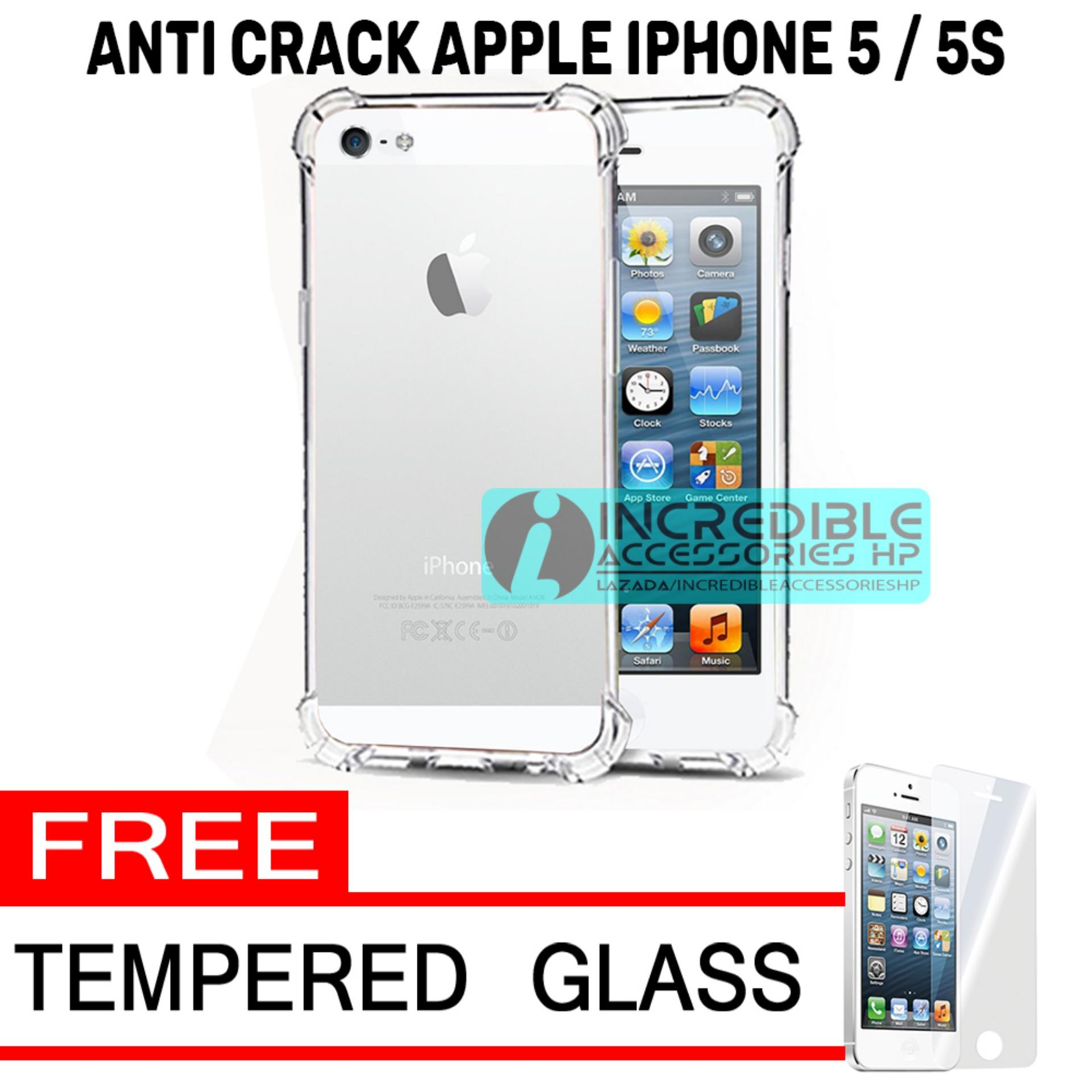 Case Anti Shock / Anti Crack Elegant Softcase  for Apple iPhone 5 / 5s / 5G - White Clear + Free Te