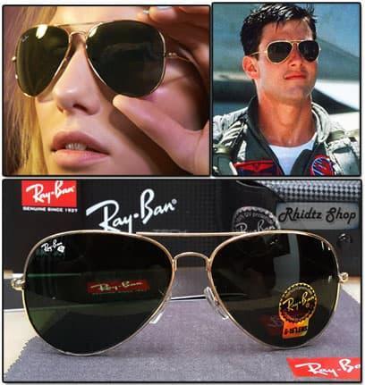DISKON Rayban aviator diamond list gold (kacamata pria wanita lensa kaca) TERMURAH