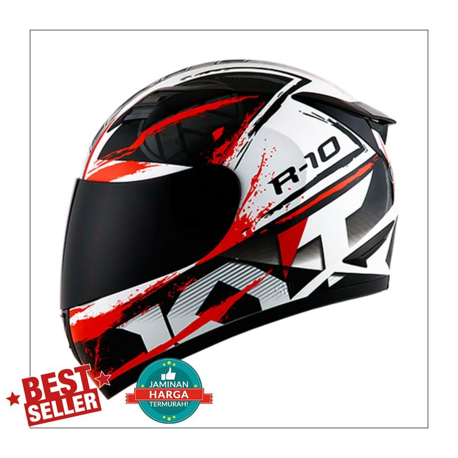 Helm KYT R10 Full Black White Red FullFace R 10 #2 New