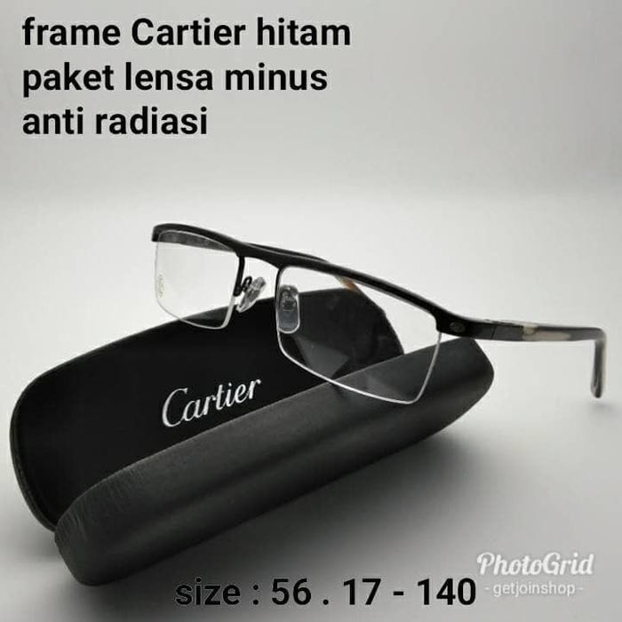 Best Top Seller!! Kacamata Half Frame Cartier Hitam Paket Lensa Minus Anti Radiasi - ready stock