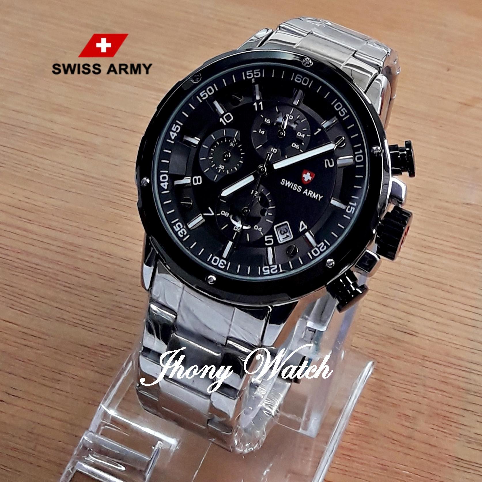 Jam Tangan Pria Swiss Army SA-6361 Silver Rantai Chorono Aktif