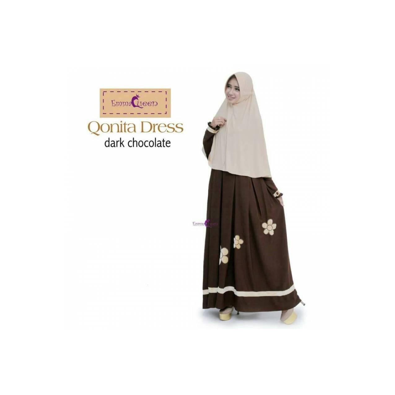 TERBARU Qonita Dress by EmmaQueen Gamis Baju Muslim Wanita