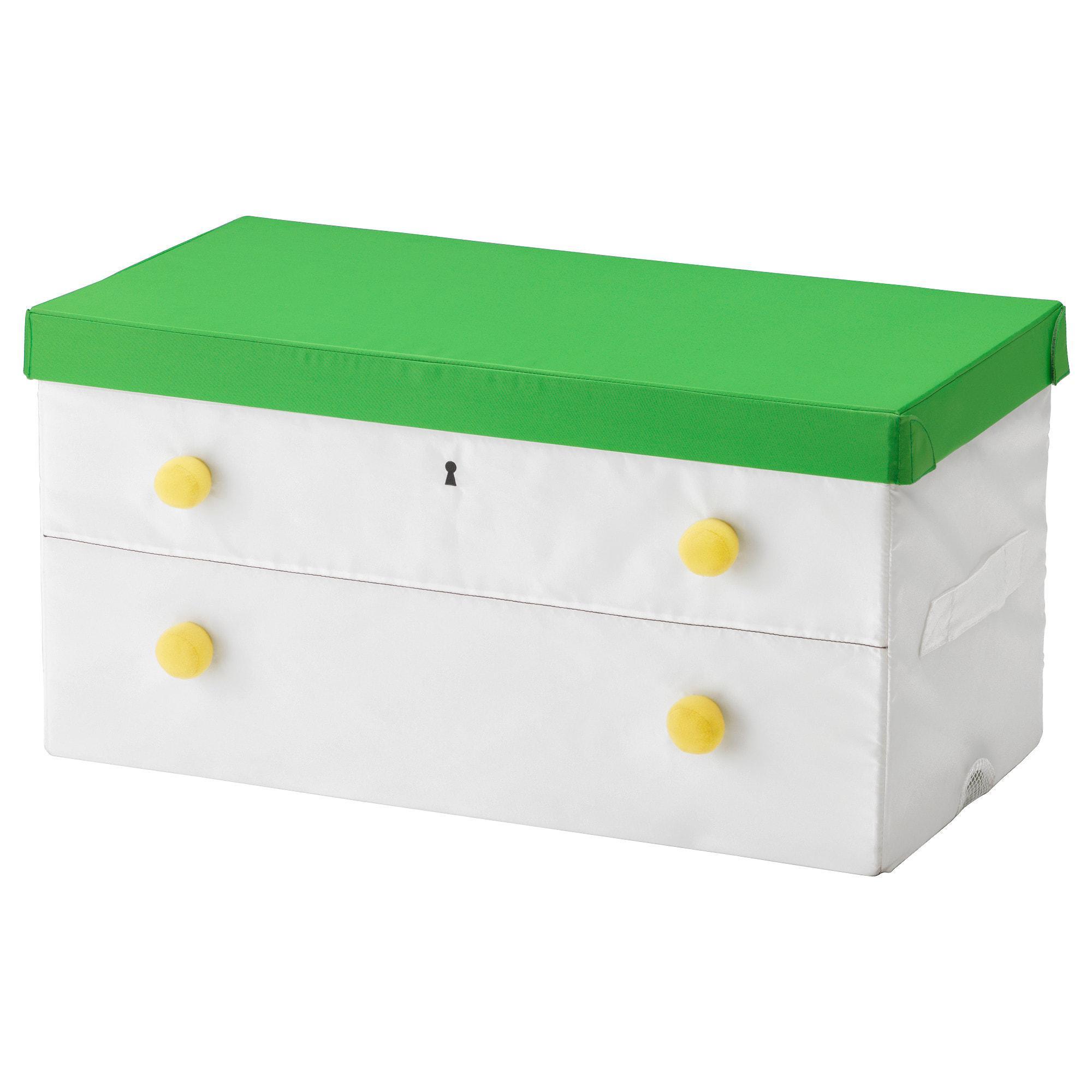 IKEA FLYTTBAR Kotak dengan penutup, hijau, putih MURAH / BUBBLE 3