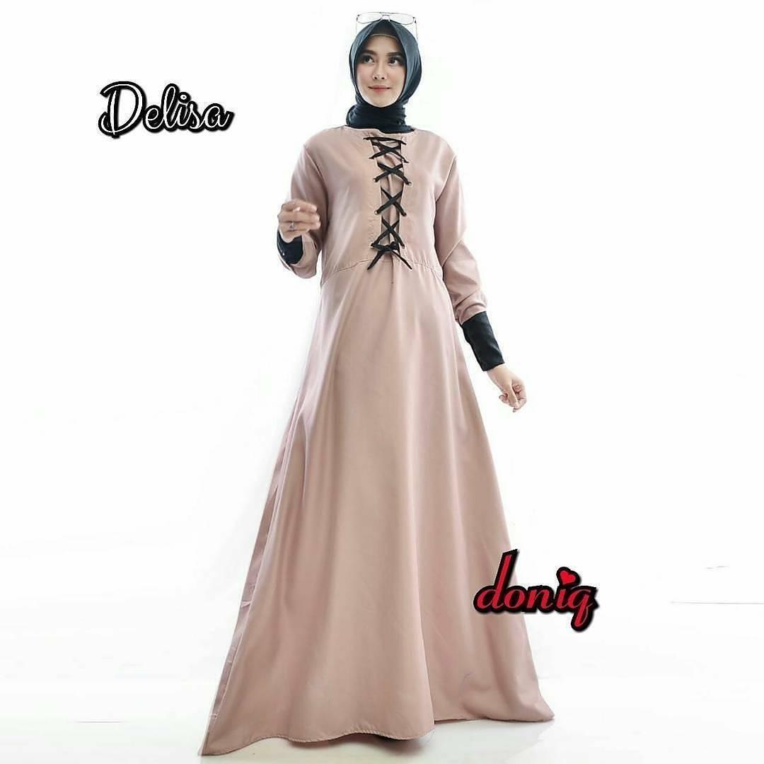 Baju Original Delisa Maxi Dress Muslim Modern Panjang Hijab Fashion Perempuan Casual Gamis Pakaian Wanita Terbaru