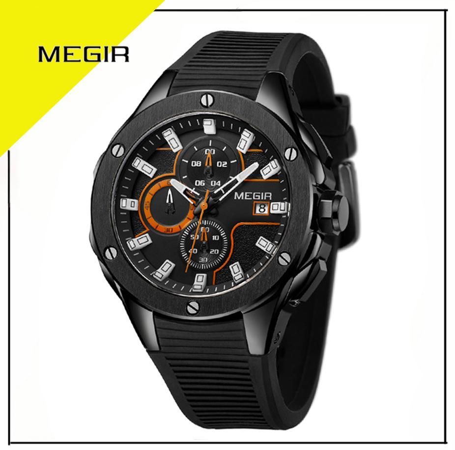 Megir 2053 Jam Tangan Pria Sport Watch ( Chrono Aktif ) Strap Silikon Anti Air 50M