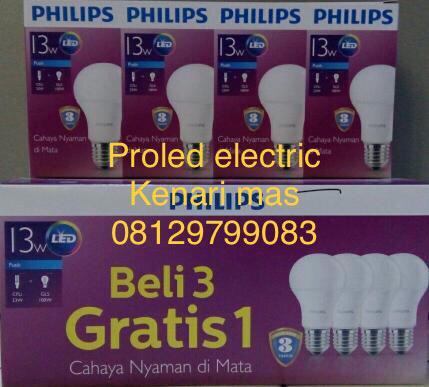 Lampu Philips led paket 13 watt isi 4 pcs