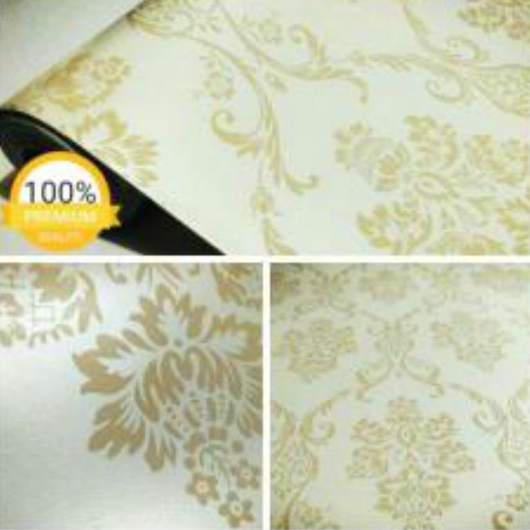 Rp 53.900. Wallpaper Sticker Dinding Krem Putih Gading Batik ...
