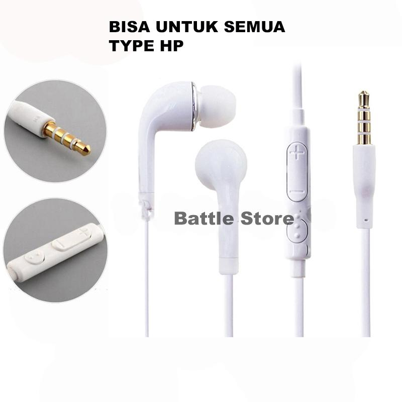 Handsfree Stereo Glossy Flat Cable Jack A/V 3.5mm For Samsung Galaxy J2 Prime Stereo Sports Earphone Bass HD Audio - Putih