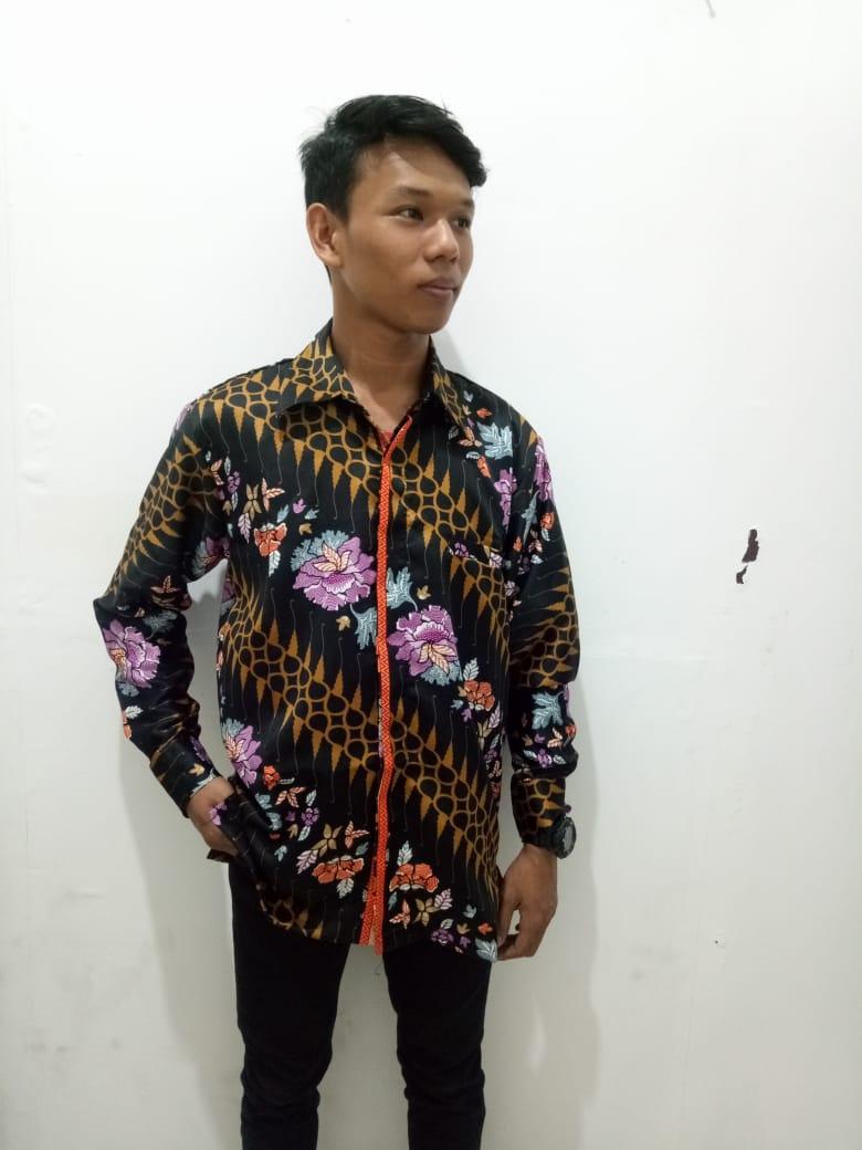 Glow fashion Atasan kemeja batik tangan panjang pria jumbo shirt Willy M–XL