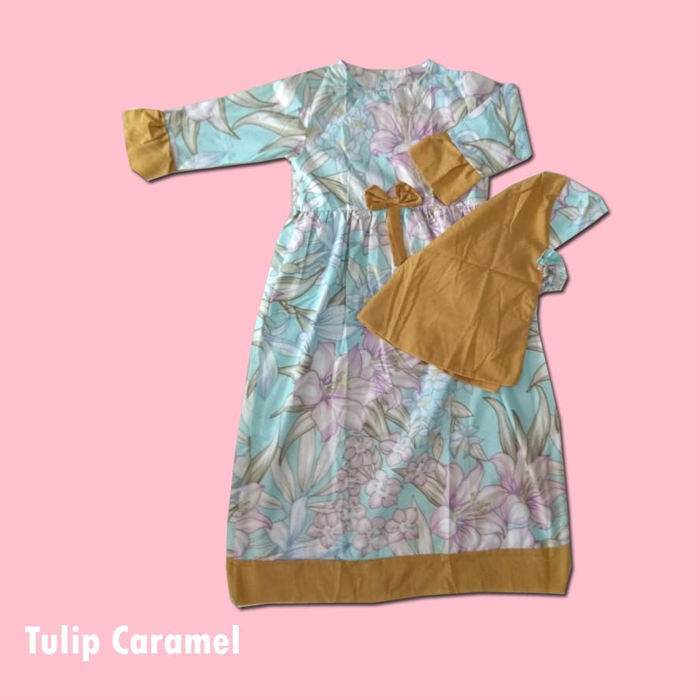 Baju Anak Gamis Gratis Jilbab Lucu Murah Big Tulip Caramel Size 10 (9-10 th)