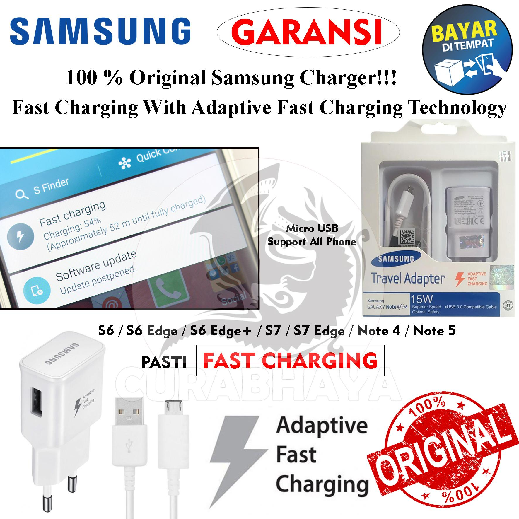 [100% Original] Authentic Travel Charger Adapter 15W Adaptive Fast Charging Micro USB 2.1A for Samsung Galaxy Note 4 / 5 / S6 / S6 Edge / S7 / S7 Edge - Putih