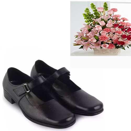 Therwan Sepatu Pantofel Paskibra Wanita Bertali / Sepatu Sekolah Anak Wanita - Black