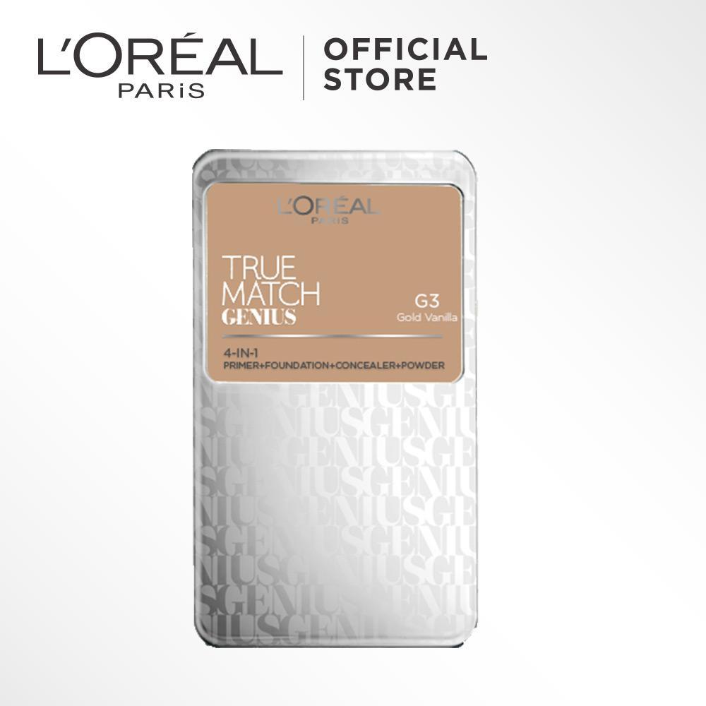 L'Oreal ParisTrue Match Genius Two Way Cake - G3 Gold Vanilla by L'Oreal Paris Makeup Loreal Padat / Compact Powder Matte High Coverage For All Types of Skin / Semua Jenis Kulit Lightweight Ringan  Blendable