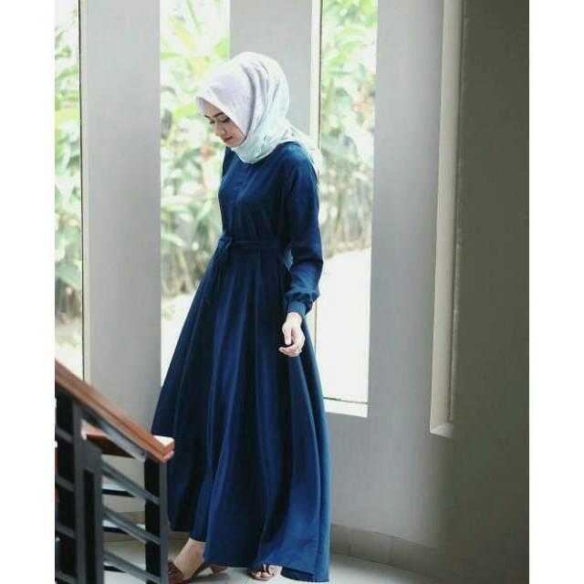 Gamis polos baloteli katun balloteli balotely syari  dress maxi dress abaya busana muslim lebaran (mustard)