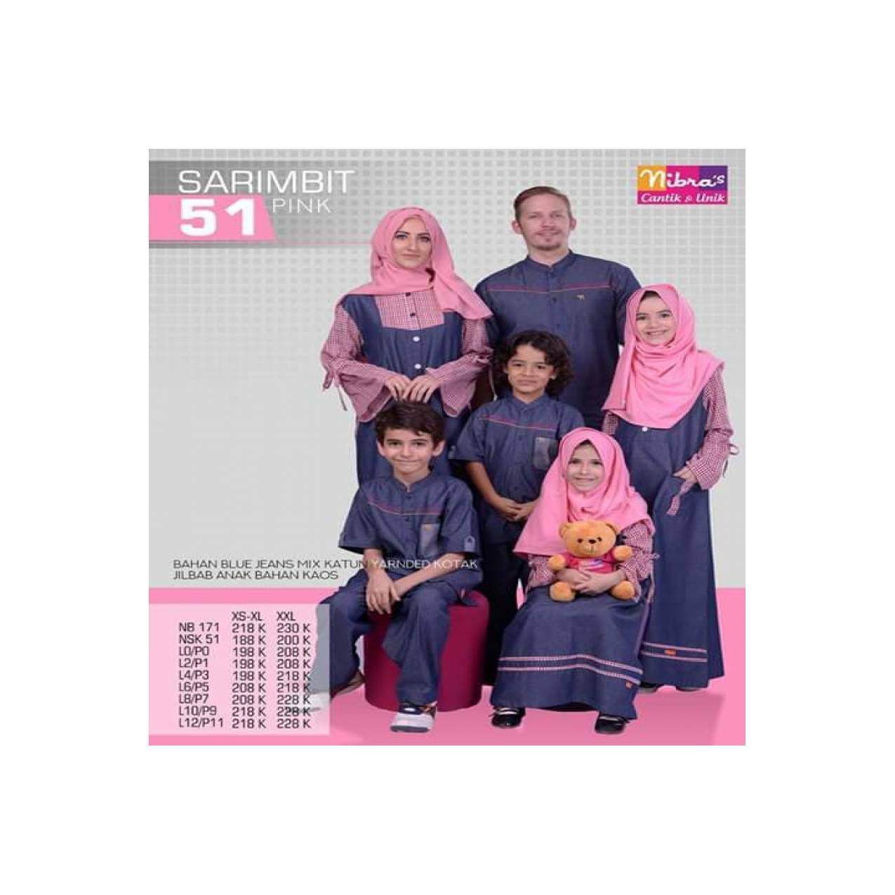 Baju Muslim Sarimbit Keluarga Nibras Family 51 Setelan Couple Pink