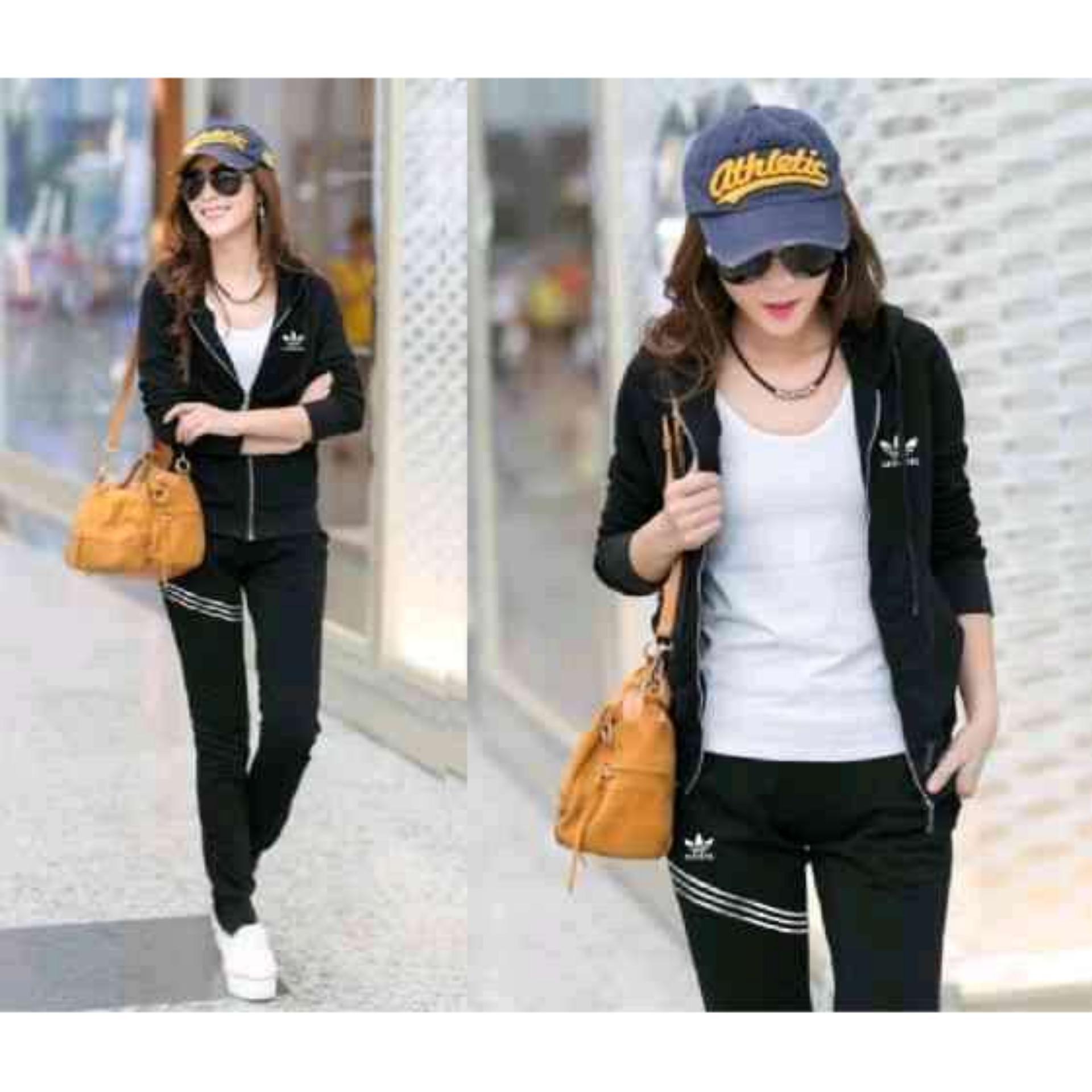 NitaFashion Set AD Stripe Black Jaket + Celana Panjang