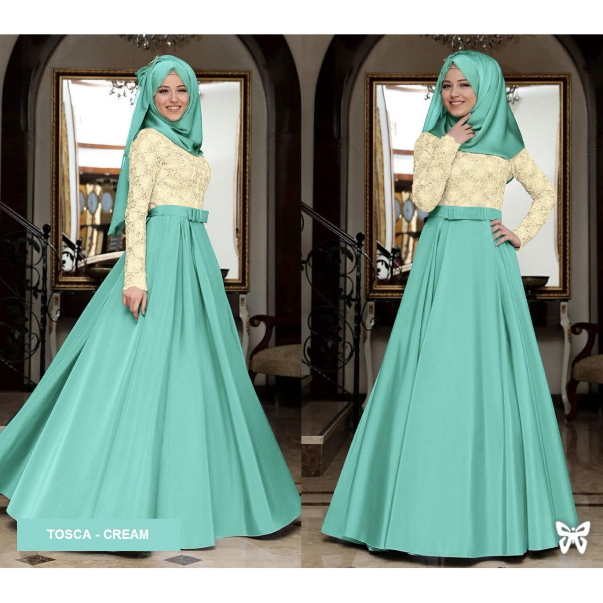 Sera Outfit Maxi Dress Lengan Panjang Set 2 in 1 MSR020 / Gamis Syari / Gaun Pesta Muslimah / Baju Muslim Wanita Syar'i / Hijab / Srmahira