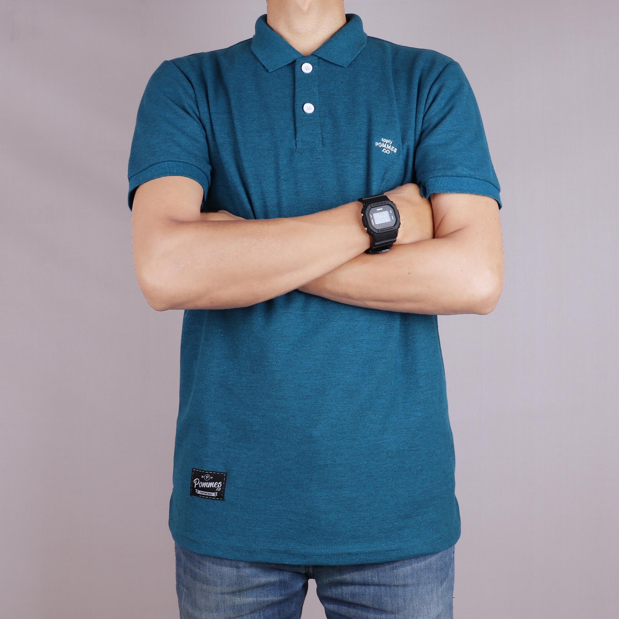 Kaos Polo Pria Premium Kaos Polo Cowok Exslusive Kekinian Kaos Kerah Lengan Pendek Elegan BIRU GLIT