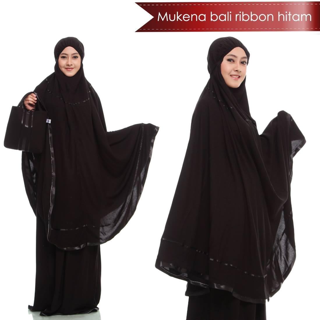 Mukena Bali Ribon Polos Hitam