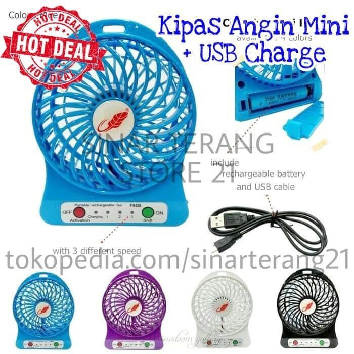Harga Spesial!! Kipas Angin Mini + Usb Charge Portable + Senter Batre 18650 Murah E68A - ready stock