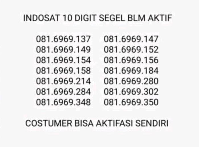 Indosat Im3 Mentari 10 Digit Dgt Cantik Segel Pulsa 2Rb Seri 6 Diskon