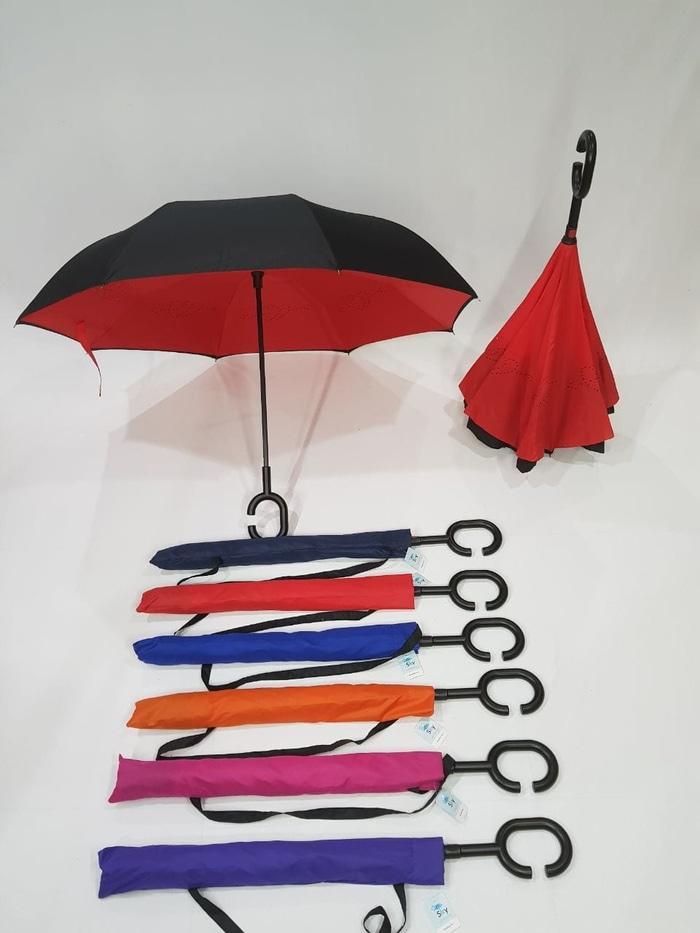 PROMO -   Payung Terbalik Reverse Kazbrella Gagang C 2ND Generatio ( SARUNG )  // Payung Lipat / Besar / Terbalik / Tenda / Transparan / Anak/ Motor / Lipat Otomatis / Mobil / Karakter / Murah / Bagus / Model Botol
