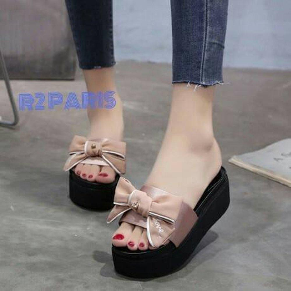 Sepatu murah New Wedges Ribbon R2 bahan Semikulit Lazada Flash Sale