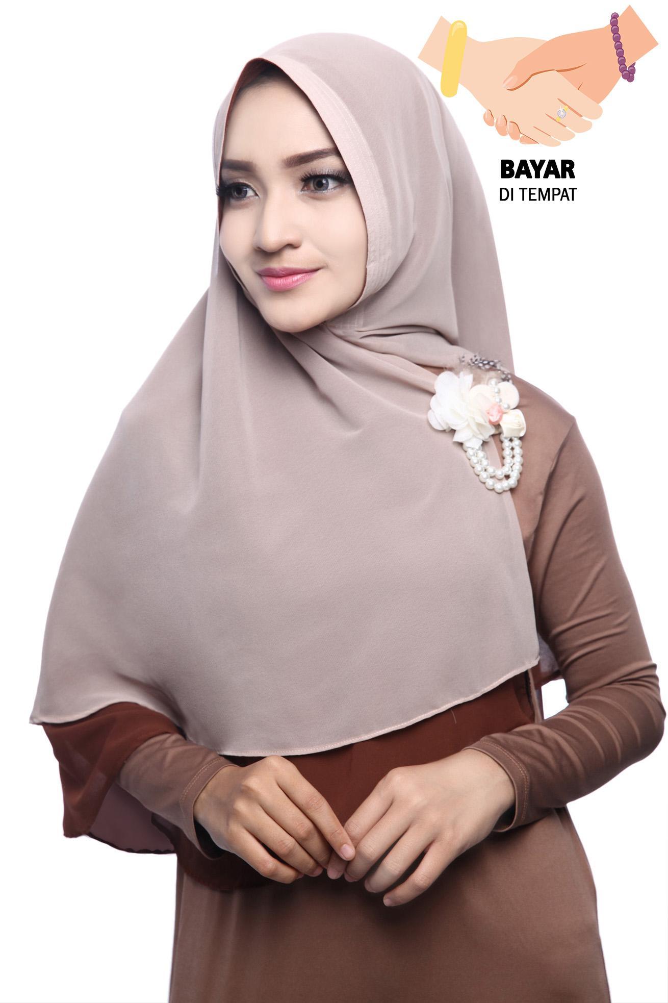 Kerudung Hijab Jilbab Khimar Hanna Two Tone  Dua Layer - Mocha Latte