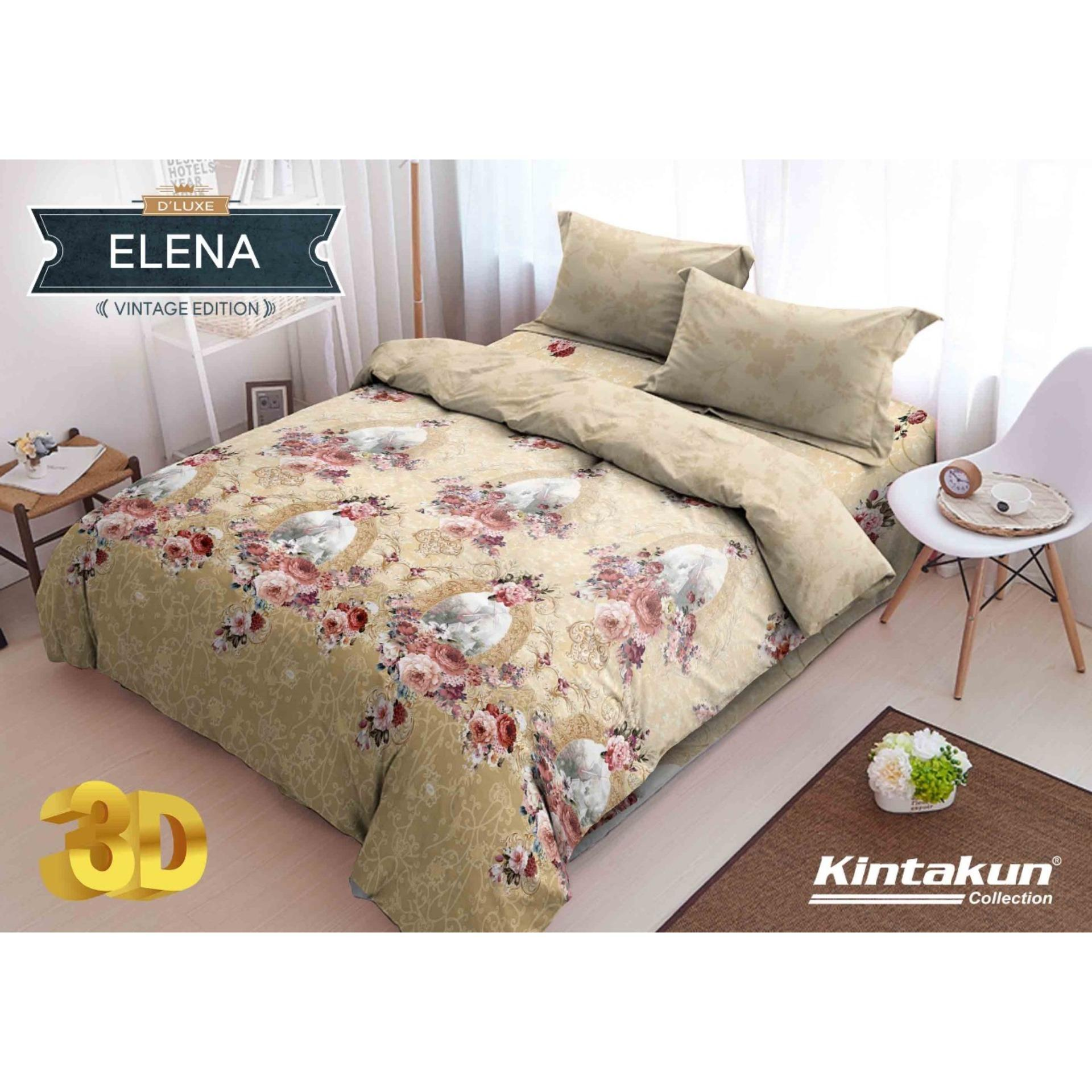 RainbowSale - Sprei Flat Queen Kintakun 3D Deluxe / Dluxe Motif Elena