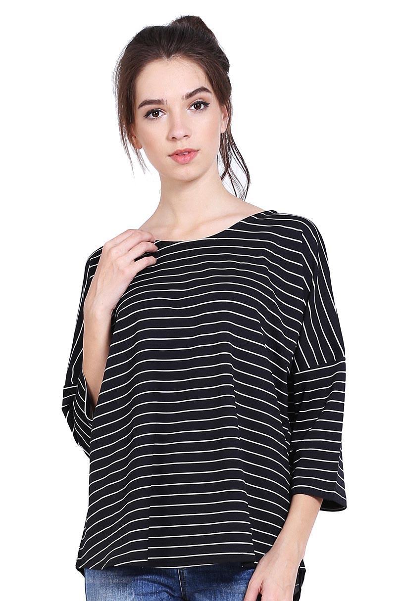 Cressida Pakaian Blouse dan Kemeja Wanita Ladies Oversize Tee Black