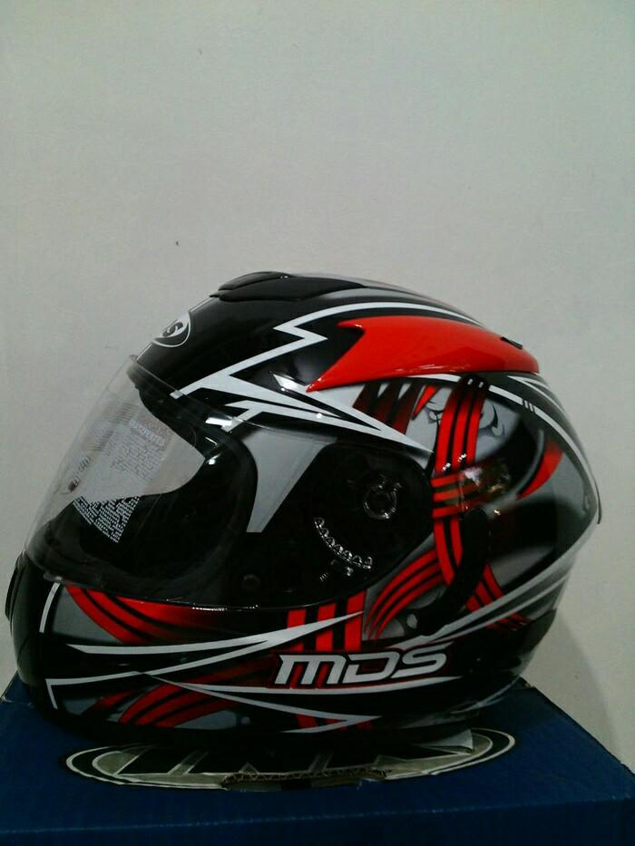 helm MDS victory motif black / red Terlaris di Marketplace Lazada