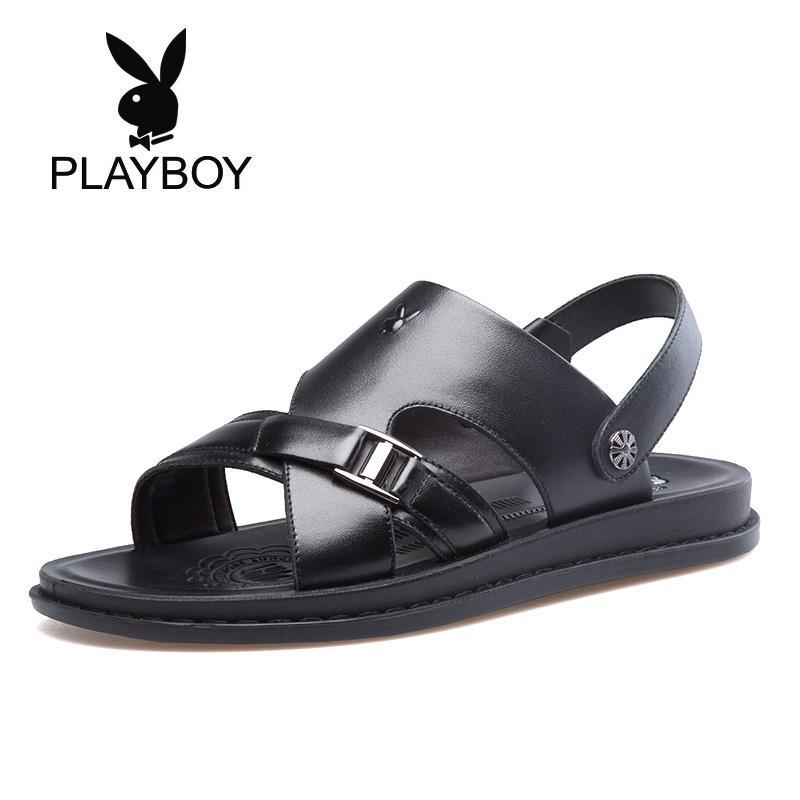 PLAYBOY Kasual Diluar Ruangan Pria Pria Sandal Summer Sepatu Pria (Hitam)