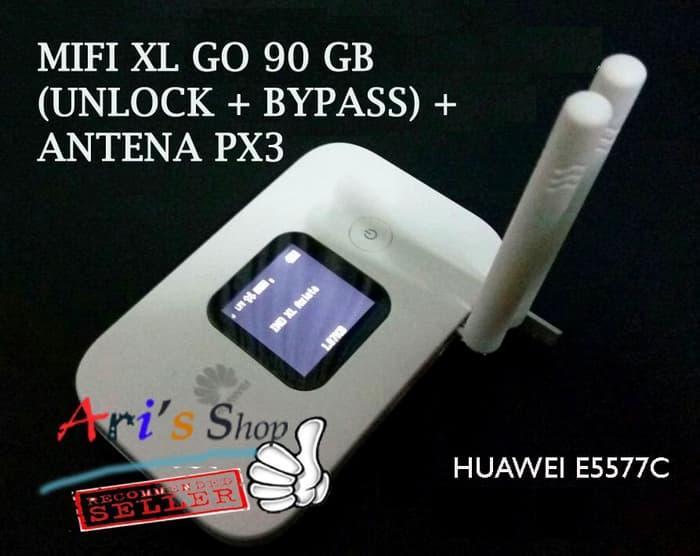 DISKON MODEM WIFI MIFI 4G LTE XL GO UNLOCK 90GB HUAWEI E5577 E5577C + ANTENA