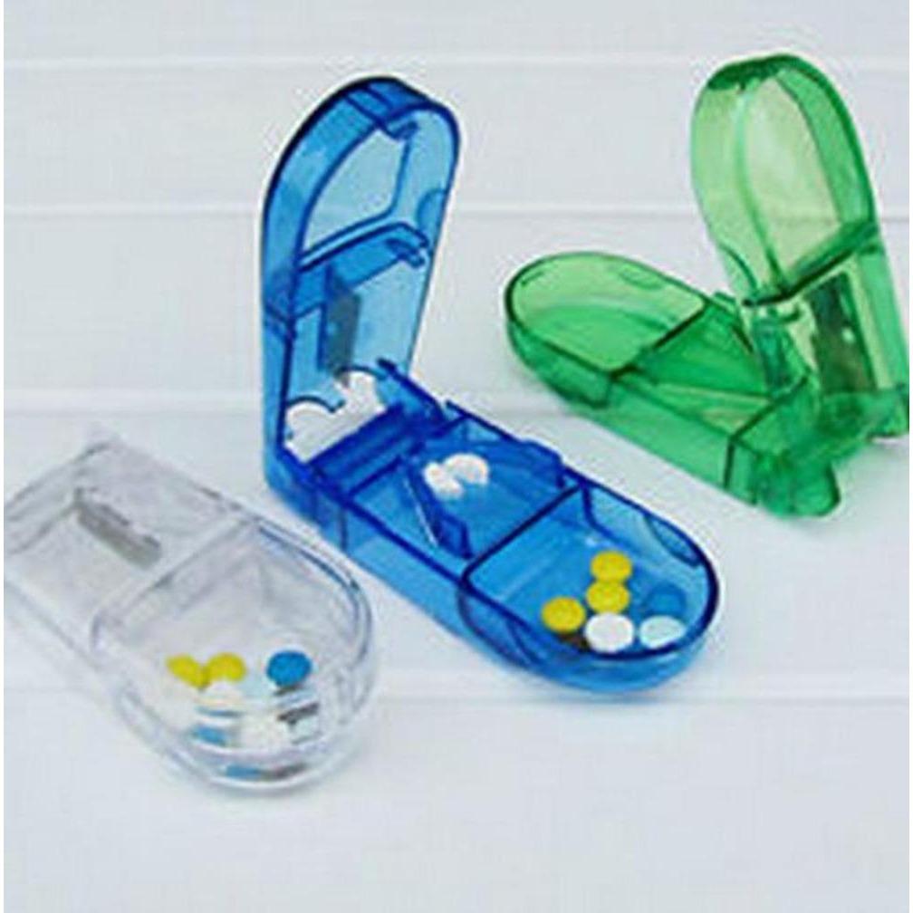 Alat Pemotong Dan Tempat Obat - Wadah Obat Tempat Pengingat Minum Obat Tempat Kotak Obat Dengan Pemotong Obat - Warna Random