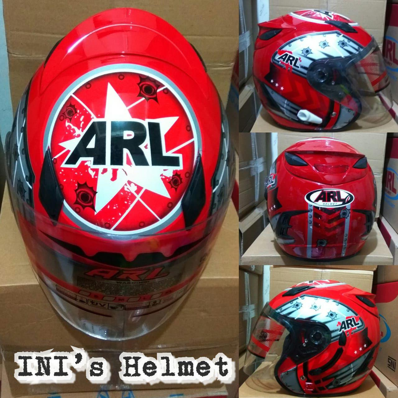 Helm ARL Centro Double Visor 2 Kaca Motif Merah Stealth - SNI - INIs Mart Jakarta