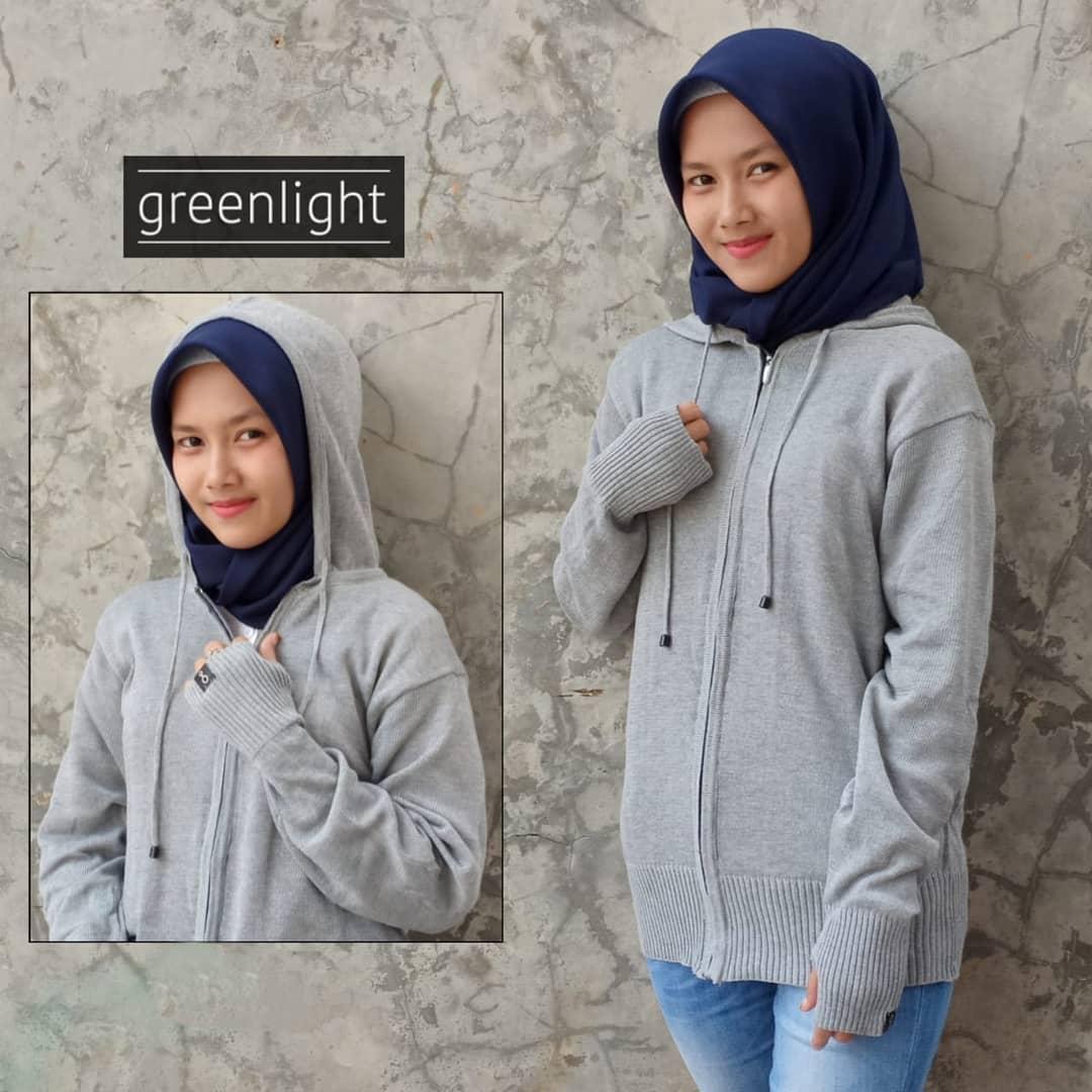 Greenlight - Jaket Sweater Hoodie Rajut Wanita Terbaru - Abu Muda