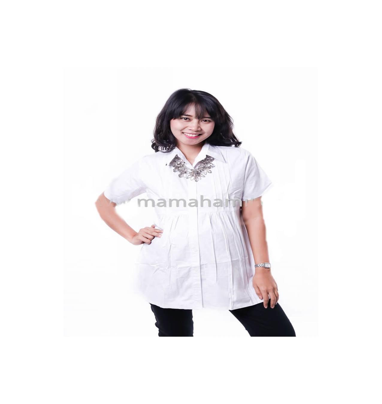 Baju Hamil Kerja Katun Lipit Dada Trendy - BLD 387 Putih