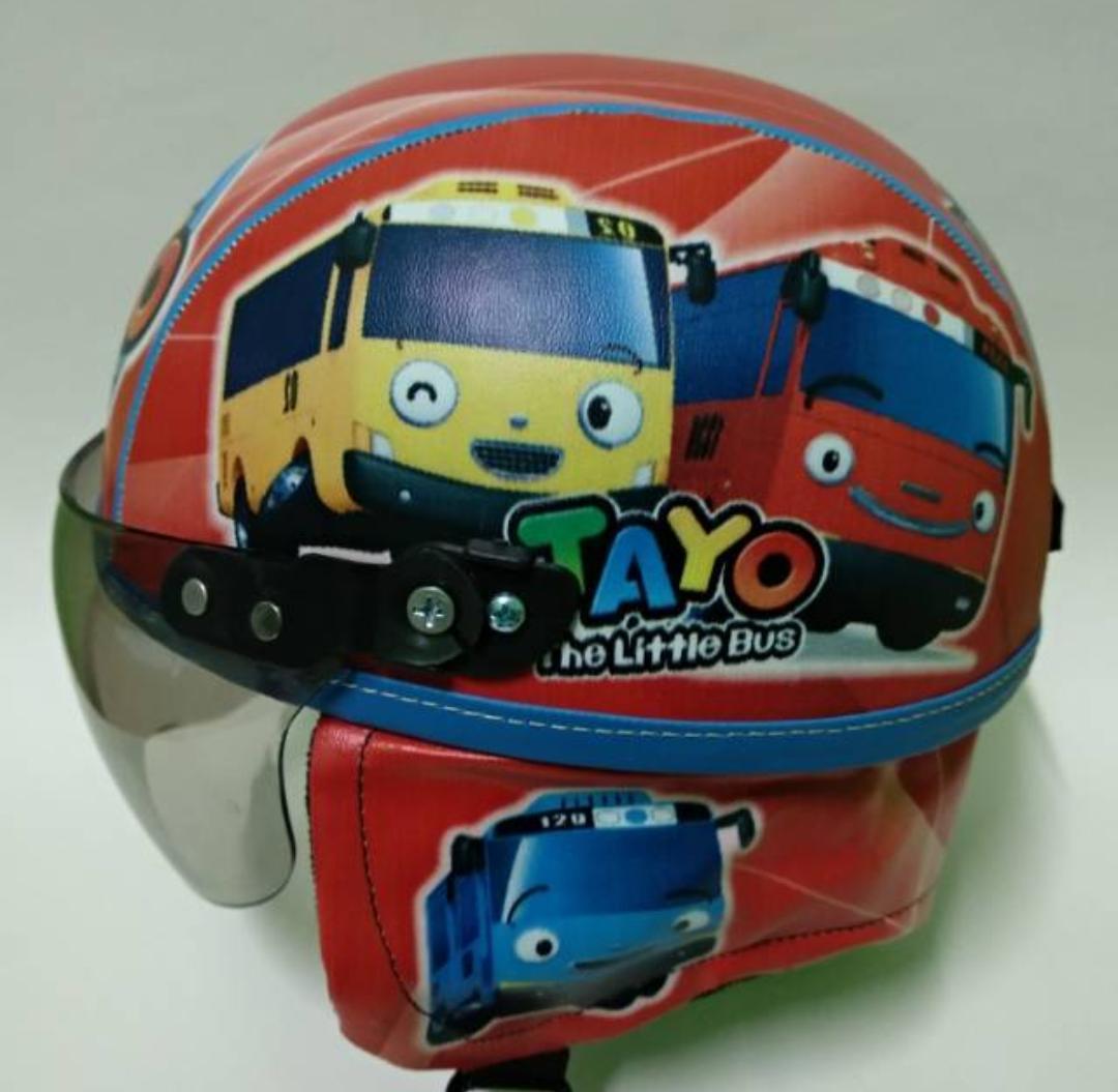 Helm anak anak retro chips spesial edition tayo printing merah usia 2 - 5 tahun