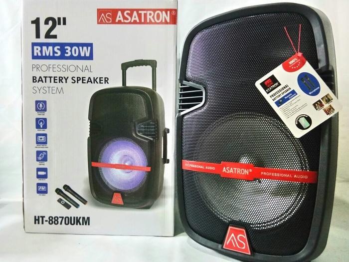 DISKON TERLARIS Asatron Microphone Wireless Speaker Meeting HT-8870UKM 12inch Karaoke TERMURAH