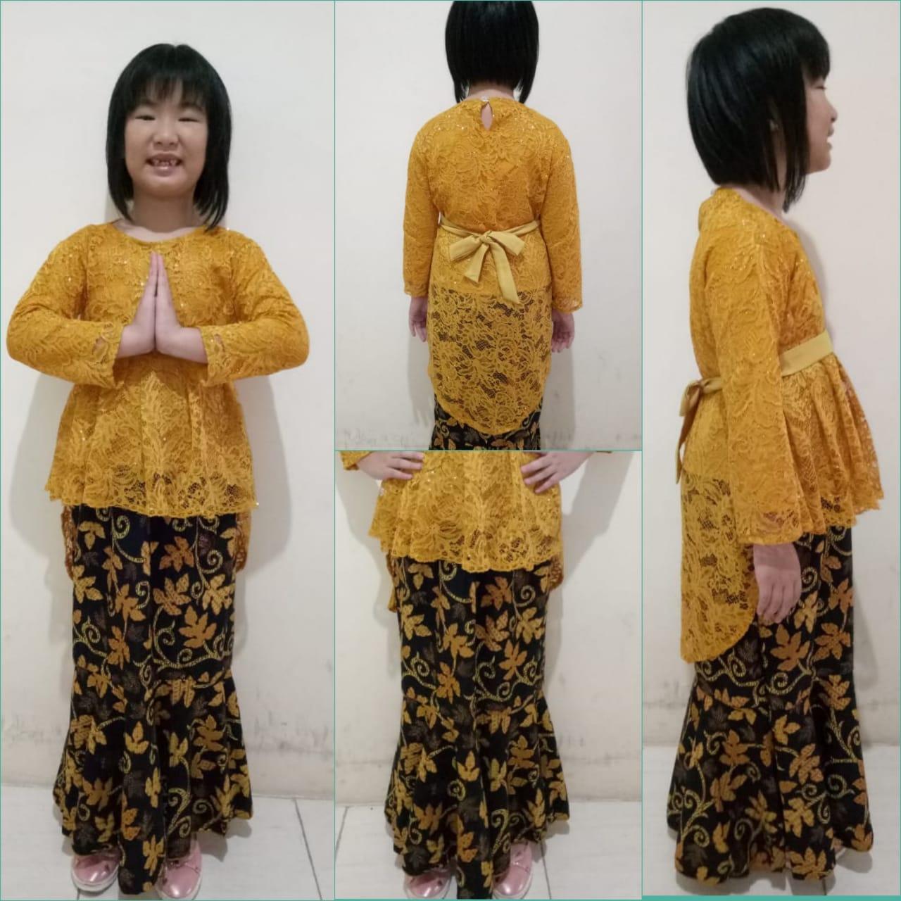 SB Collection Stelan Atasan Gladis Kebaya Kartini Blouse Brukat Dan Rok Duyung Batik Anak Perempuan S M L XL Tersedia Warna Navy Pink Gold