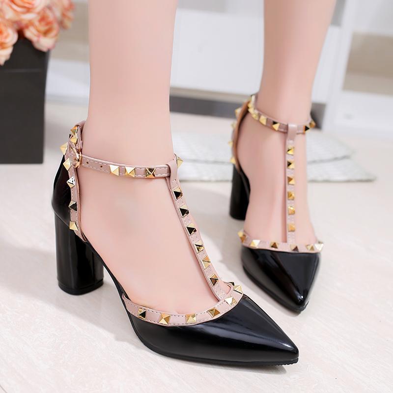 Promosi Besar untuk Sandal Tumit Tinggi Wanita Sandal Kulit T-strap Sepatu Pointed-Ujung Kaki Sepatu Dansa Wanita tinggi Heel Sandal T-strap Kulit Sandal Pointed-Ujung Kaki Pakaian Sepatu Sepatu Tari
