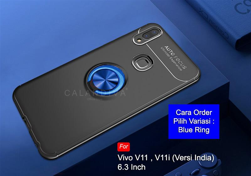 Calandiva Soft Case Hp VIVO V11 biasa , VIVO V11i (versi India) (6.3 Inch) (sama ukuran) Casing Ultimate Ring Kickstand Hybrid Premium Quality Grade A