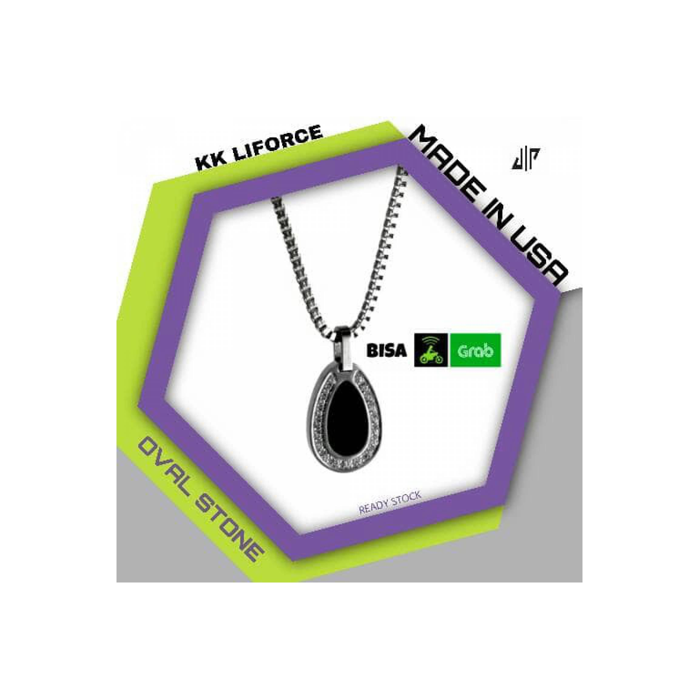 Kalung Kesehatan KK Liforce Oval Stone Original - Ready Stock